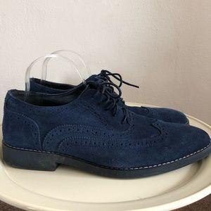 Joseph Abboud Collection Blue Suede Oxfords